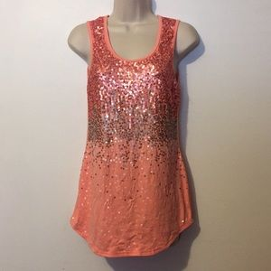 1688a264ba2 Rue21 · Rue 21 Peach Color Sequins Tanktop Women s Medium